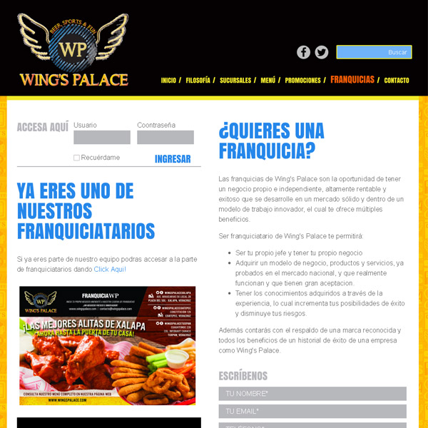Franquicias Wings Palace